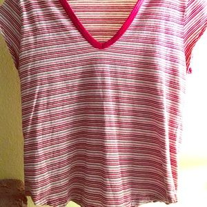 Red, Striped, V-Neck Tee!